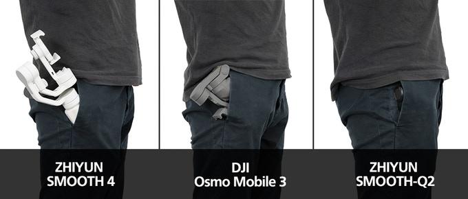 เปรียบเทียบขนาด smooth q2 กับ dji osmo mobile 3